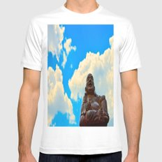 Happy Buddha on a Beautiful Day White Mens Fitted Tee SMALL