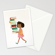 Library Girl 4 Stationery Cards