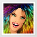 Happy Girl Rainbow Fashion Hair Art Print