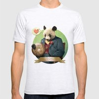 Wise Panda: Love Makes the World Go Around! Mens Fitted Tee Ash Grey SMALL