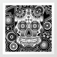 sugar skull Art Prints featuring sugar skull by Ancello