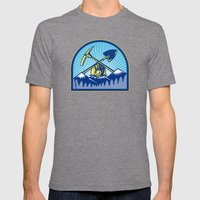 Coal Miner Hardhat Pick Axe Shovel Retro Mens Fitted Tee Tri-Grey SMALL