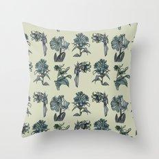 Botanical Florals | Vintage Blue Throw Pillow
