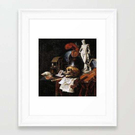 Vintage Vanitas- Still Life with Skull 3 Framed Art Print