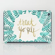 iPad Case featuring Treat Yo Self – Gold &… by Cat Coquillette