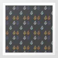 Charcoal And Leaf Repeat Art Print