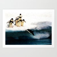 The Penguin Party - Pain… Art Print