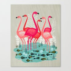 Flamingos by Andrea Lauren  Canvas Print