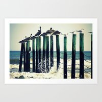 Pelicans on Pilings Art Print