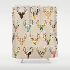 retro deer head on linen Shower Curtain