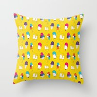 Ice cream pattern - light blue Throw Pillow