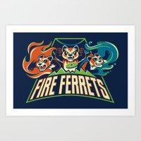Fire Ferrets Art Print