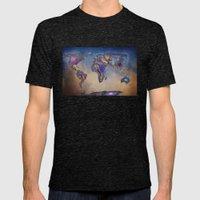 Stars World Map. Blue. W… Mens Fitted Tee Tri-Black SMALL
