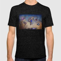Stars World Map. Blue. W… Mens Fitted Tee Tri-Black SMALL