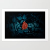 Red In The Dark Art Print