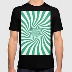 Swirl (Mint/White) Mens Fitted Tee Black SMALL