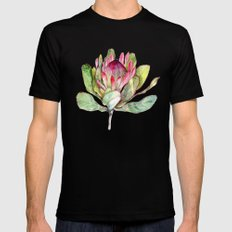 Protea Flower Black Mens Fitted Tee SMALL