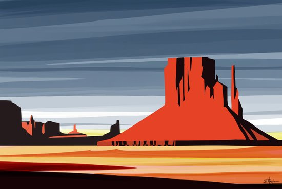 Monument Valley sunset magic realisim Art Print