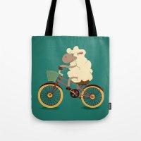 Lamb on the bike Tote Bag