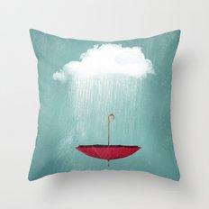 EMBRACING the rain Throw Pillow