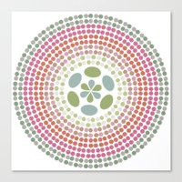 Retro floral circle 1 Canvas Print