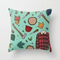 Woodsman Print Throw Pillow