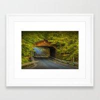 Wood Covered Bridge in Autumn at Sleeping Bear Dunes Framed Art Print