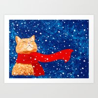 Tabby loves Snow... Art Print