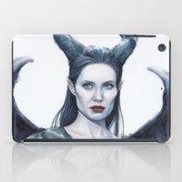 Maleficent Watercolor Portrait iPad Case