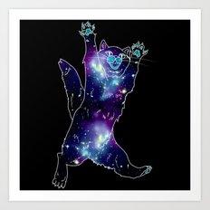 Galaxy Cat - Blue, Purple, Black Art Print