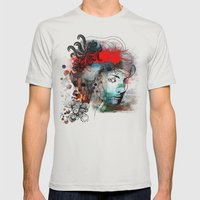 Red Mens Fitted Tee Silver SMALL