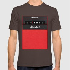 Retro Guitar Electric Amplifier Mens Fitted Tee Brown SMALL
