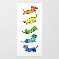 Watercolor Dachshunds Art Print