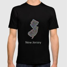 New Jersey Map Mens Fitted Tee Black SMALL