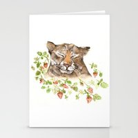 Tiger in Strawberries Stationery Cards