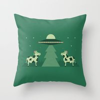 Merry Abduction Throw Pillow
