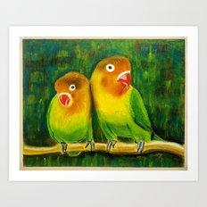 Parrots Lovers Art Print