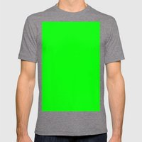 Electric green Mens Fitted Tee Tri-Grey SMALL