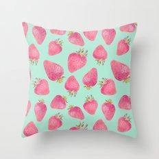 Strawberry pattern square print Throw Pillow