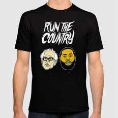 Run The Country Black SMALL Mens Fitted Tee