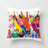 Straphangers Throw Pillow