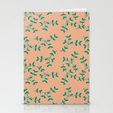 Metalic Pink leaves pattern Stationery Cards