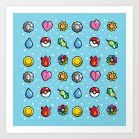 Gym Badges Art Print