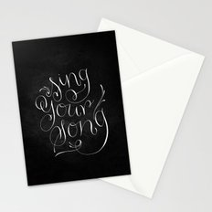 Sing Your Song // White on Black Stationery Cards