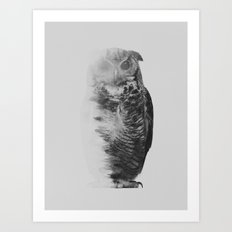The Owl (black & white version) Art Print