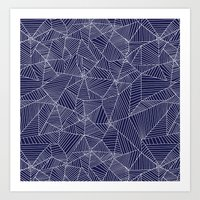 Spiderwebs - Webs on navy blue Art Print