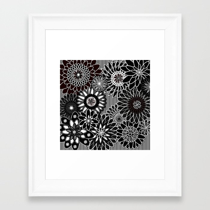 Black And White Floral Wall Decor : Flowers black and white framed art print by designsbymarly