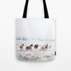 Winter Horses Tote Bag