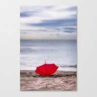 Red Umbrella At The Beac… Canvas Print