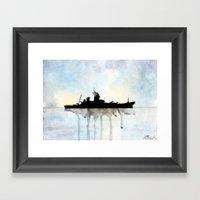 USS Missouri Watercolour Framed Art Print